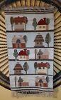 "Vtg. Polish Hand Woven Pictorial Tapestry Rug Landscape Homes People 20"" × 37.5"""