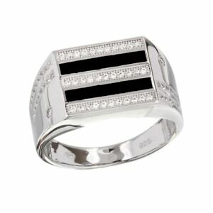 Men's Sterling Silver Black Enameled Rectangular Ring w/ Cubic Zirconia Stones