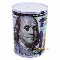 "$100 Dollar Bill Piggy Bank Coin Money Saving Tin Can Benjamin Franklin 8.5"""
