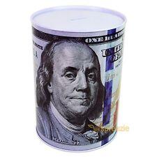 "$100 Dollar Bill Piggy Bank Coin Money Saving Tin Can Benjamin Franklin 8.5"" NEW"