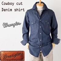 Wrangler Mens Western Shirt Denim Jean New Vintage Cowboy Blue regular/big/tall