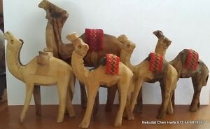 5 Olive wood hand made Camels from the Holy Land