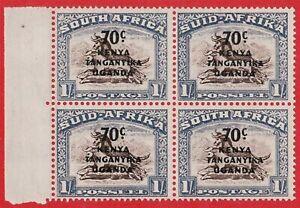 KENYA, TANGANYIKA, UGANDA 1941 70c ON 1s BROWN AND CHALKY BLUE SG154 BLOCK OF 4