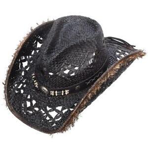 Black Straw Hat - Lancaster Black Band W/Conchos Western Express Brand New