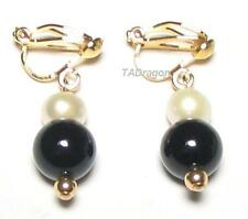 Genuine White Pearl & Black Jade 18K YGP Clip On Earrings