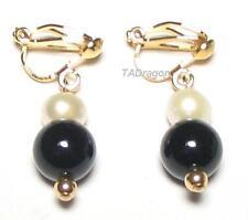 Genuine White Pearl & Black Jade 18K YGP Clip On Earrings