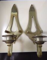 Vintage Brass Metal Pair Wall Sconces Set Candle Holders With Snuffer Holder