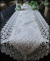 "Dresser Scarf or Mantel Shelf Runner Ivory Princess Lace European 65"" x 11"""