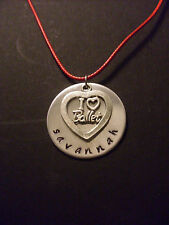 "Personalized Name ""I <3 Ballet"" Heart Charm Hand Stamped 1.25"" Necklace"
