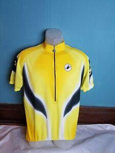 Castelli Men's Jersey Yellow Black Cycling Techno Sport Wear Size XL Half Zip