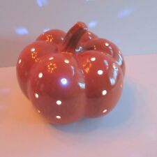 Ceramic Lighted Pumpkin LED Batteries included 6 in. tall  25 in. circumference