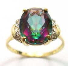 SY 10KT YELLOW GOLD NATURAL MYSTIC TOPAZ & DIAMOND RING   SIZE 7.5    R1413