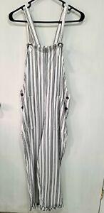 NWT Hollister Striped Jumpsuit size M White& Dark Gray (Viscose)