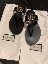 GUCCI Women GG Marmont Leather T-Strap Sandal Black Size 39 EU 9 US $495 NEW