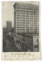 Main Street Memphis TN Tennessee Black & White Vintage 1900's Postcard