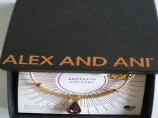 Alex and Ani February Amethyst Bangle Bracelet Teardrop Raf Gold NWTBC