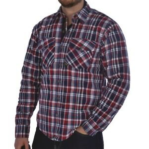 Oxford Kickback Aramid Lined Water Resistant Motorcycle Bike Shirt Red & Blue
