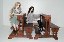 Catholic church bench for Dolls 1/6 scale 12 in FR Barbie 4 pcs + 1 Genoflektory