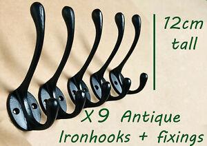 Coat Hooks x9 Antique Iron Hat And Coat Hook Double Robe Hook Cast Iron Black