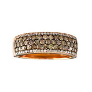 1 1/5 Ctw Round Natural Diamond Cluster Anniversary Band Ring 14K Rose Gold