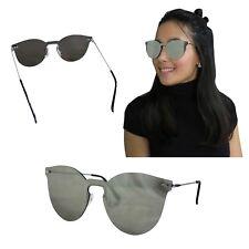 7aad6cf110 Gafas De Sol Sin Montura Mujer Negro Plateado Metal Moda Fashion Elegante  Joven