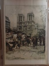 """Luigi Kasimir Etching """"Bouquinists"""", """"Notre Dame Booksellers"""" Signed"""