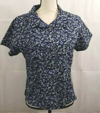 Breastfeeding Nursing Navy Floral Shirt Sz M Button Front Short Sleeves Zip Feed