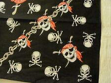 SKULLS  PIRATES AND CHAINS  PRINT BANDANA IN RED WHITE AND BLACK, POLYCOTTON.
