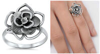 Sterling Silver 925 PRETTY OXIDIZED FLOWER DESIGN SILVER RING SIZES 5-10