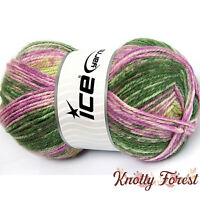 Jeans Wool Ice Yarn GREEN PINK Wool & Acrylic Blend Worsted Weight 229yd