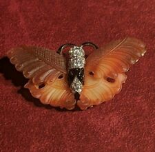 Kenneth Jay Lane Simulated Carved Jade and Crystal Butterfly Pin/Brooch