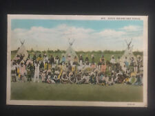 1932 WY USA Postcard Native American Indians Sioux with Teepees Portrait Cover