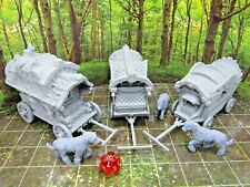3 World Traveler Wagons Caravan and Horses Miniature Mini 3D Printed Model
