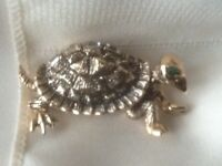 Vintage Antiqued Tortoise Turtle Pin With Clear Baguettes Green Eye