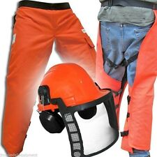 Chain Saw Safety Wrap Chaps, Adjustable Length, Color Orange, w/ Safety Helmet
