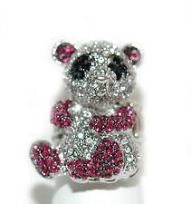 CRYSTAL PINK & BLACK PANDA STRETCH RING (R005)