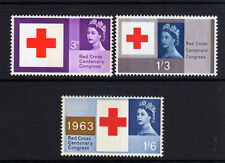 GREAT BRITAIN 1963 RED CROSS PHOSPHOR SET SG 642p-644p MNH.