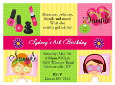 12 Personalized Girls Spa Party Slumber Pajama Birthday Invitations Makeup