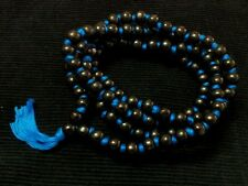 TULSI JAPA MALA KNOTTED BLUE THREAD BLACK WOOD 108 BEAD ROSARY NECKLACE MANTRAS