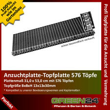 Anzuchtplatte Topfplatte 576 Töpfe, Topfgröße BxBxH 13x13x30mm PROFI Gärtner!