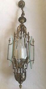 "Art Deco Brass & Beveled Glass 3 Light  Pendant  Hanging Cage Chandelier H 35"""