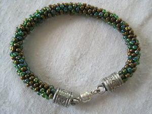 "Beaded  KUMIHIMO BRACELET Handmade GREEN MIX Size:8"" Magnetic Clasp (GRB8)"