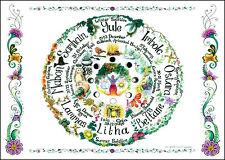 Roue de l'année A4 Planche Murale Poster planner Calendrier Païen Wicca Jardinage