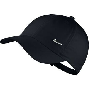 Nike Junior Youth Metal Swoosh Heritage Cap Hat Boys Girls Unisex Black / Silver