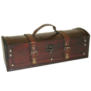 Treasure Chest Gift Boxes - Leather and Wood Trinket Trunks storage with Brass