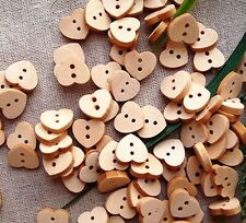 50 x Natural Heart Wooden Buttons 11mm x 12mm Love Dressmaking Sewing Valentine