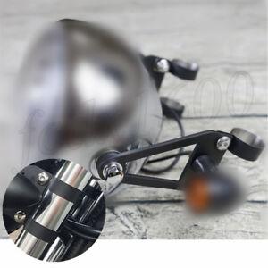 Black Steel Motorcycle Turn Signal Headlight Fork Mount Bracket Bar Clamp Holder