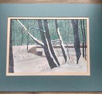 J. Nelson Original Art/1981 Painting/First Snow Of Winter/Folk Art/Outsider