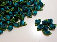 Willow Dusty Blue Flower Appliques Offray Rolled Rose Satin Flowers X 10 pcs