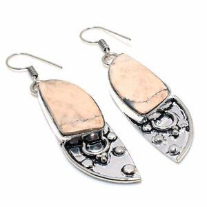 """Picture Jasper Gemstone Handmade 925 Sterling Silver Jewelry Earring 2.36"""" f864"""